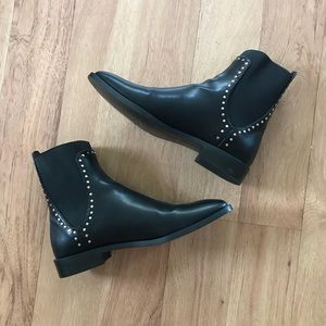 New Zara Faux Leather Studded Chelsea Boots 39